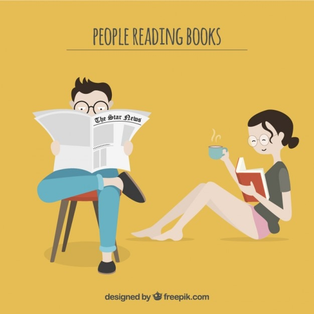 Paar lezen van een boek en een krant Gratis Vector