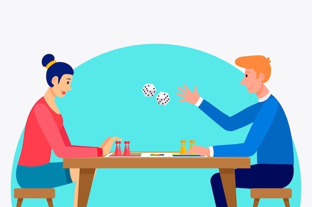 Paar ludo spel spelen Gratis Vector