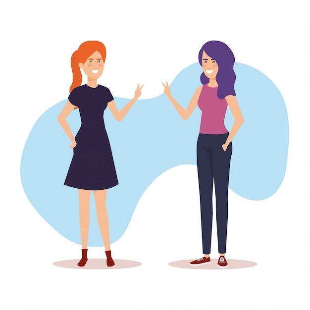 Paar meisjes avatars karakters Gratis Vector