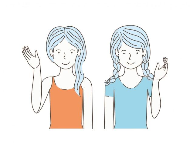 Paar meisjes praten avatars tekens Premium Vector
