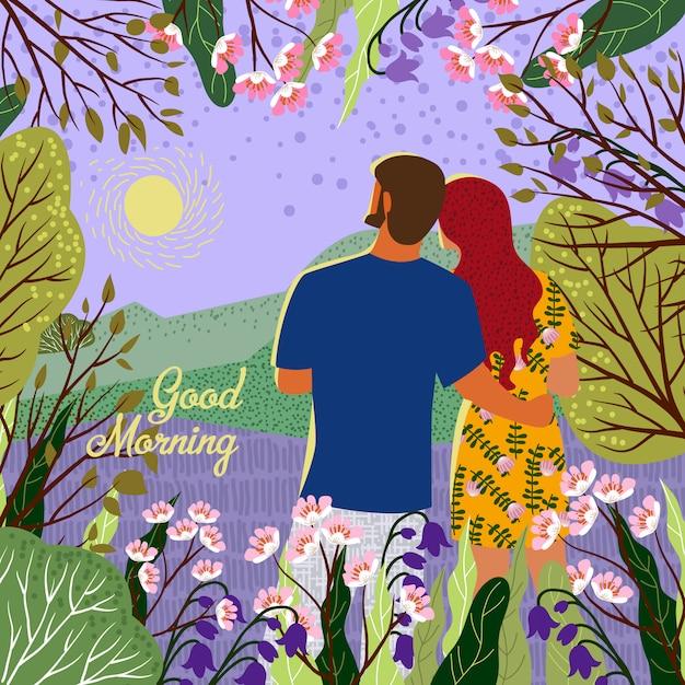 Paar ontmoet nieuwe dag. zonsopgang, heuvels, bloemen, bomen, natuurlijk landschap in een trendy platte schattige stijl. illustratie Premium Vector