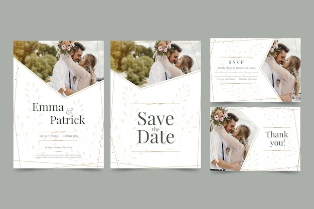 Paar poseren in de natuur voor bruiloft uitnodigingen Gratis Vector