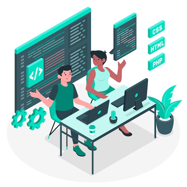 Paar programmeren concept illustratie Gratis Vector