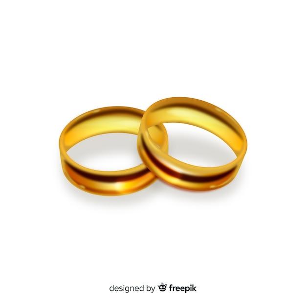 Paar realistische gouden bruiloftringen Gratis Vector