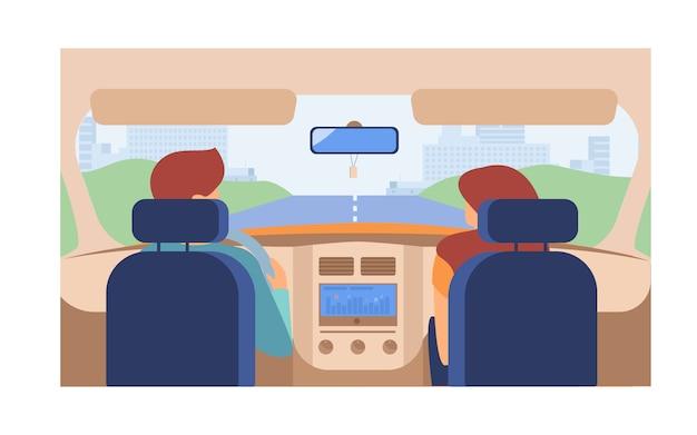 Paar rijdend voertuig Gratis Vector