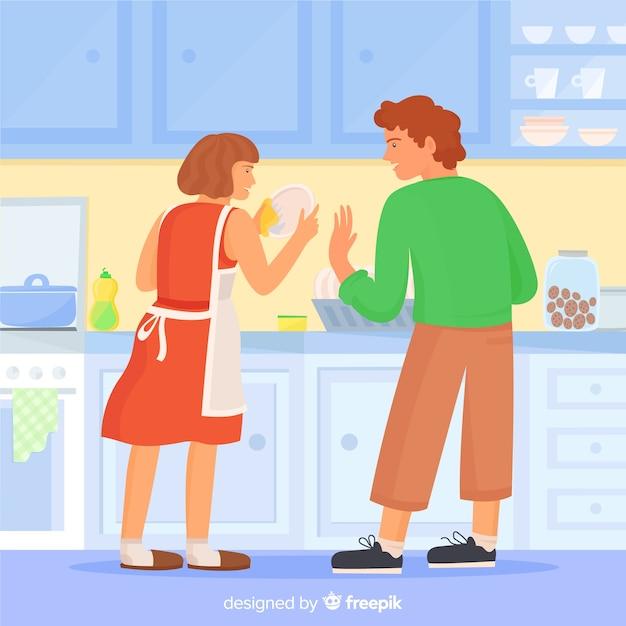 Paar samen huishoudelijk werk doen Gratis Vector