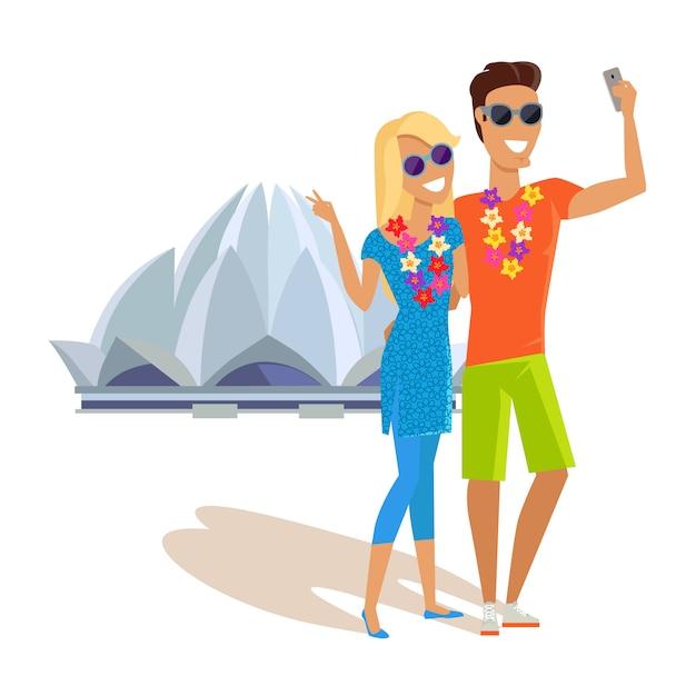 Paar selfie op zomervakantie in india Premium Vector