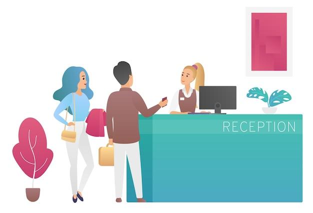 Paar toeristen gasten staan bij de receptie van het hotel en praten met receptioniste Premium Vector