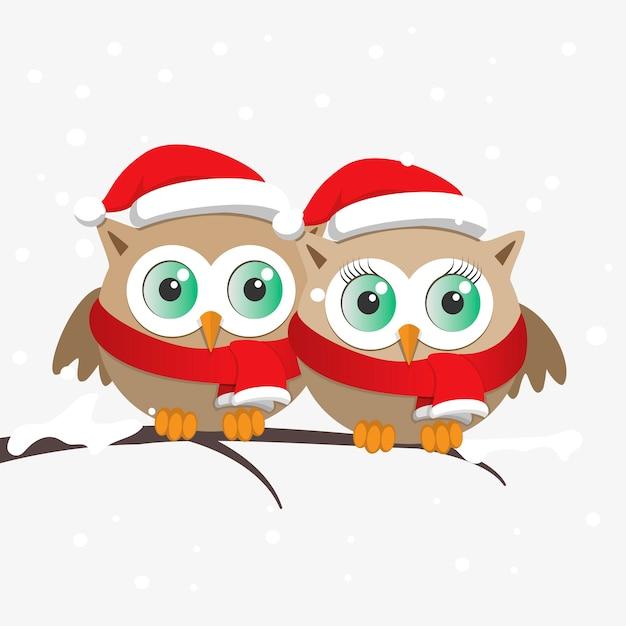 Paar uilen met kerstman hoed op een tak Premium Vector