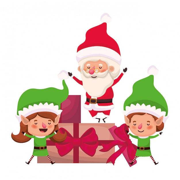 Paar van elf en de kerstman met geschenkdozen Premium Vector