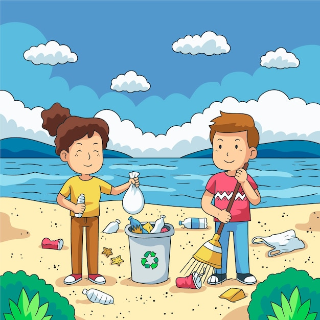 Paar van jongeren die plastic huisvuil op waterkant schoonmaken Gratis Vector