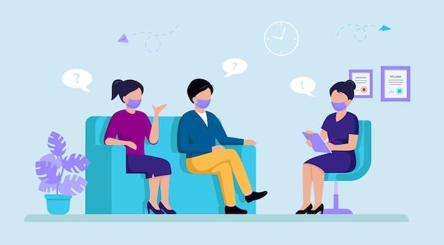 Paar van man en vrouw zittend op de bank en overleg hebben met vrouwelijke psycholoog of psychotherapeut. Premium Vector