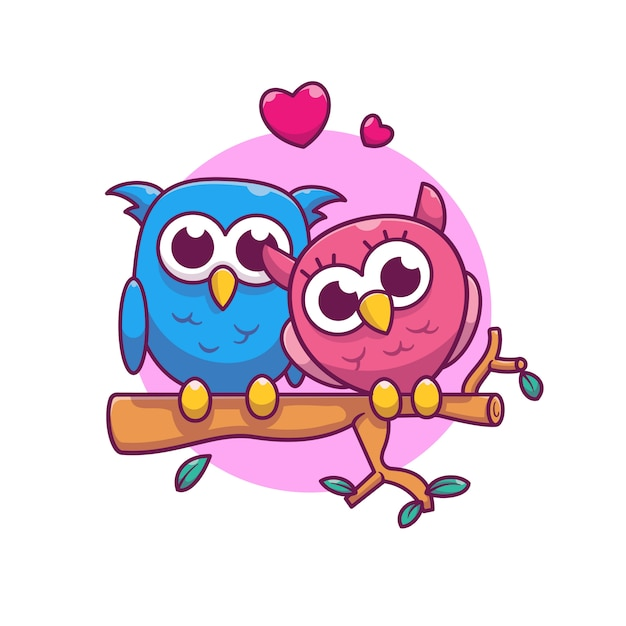 Paar van owl fall in love vector illustration. uil en liefde Premium Vector