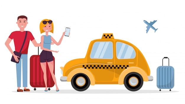 Paar van toeristen jonge man en vrouw met koffers die op taxi wachten Premium Vector