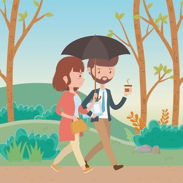 Paar van vrouw en man cartoon Gratis Vector