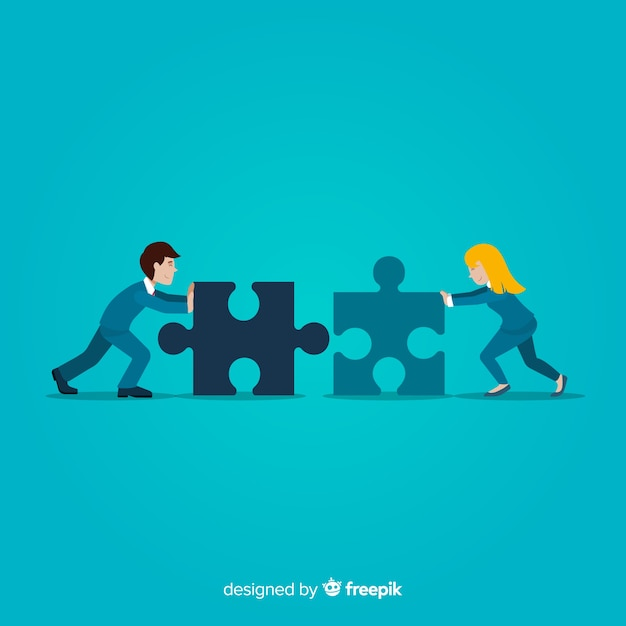 Paar verbindende puzzel stukjes achtergrond Gratis Vector