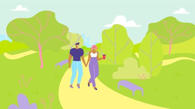 Paar verliefd wandelen in park garden cartoon Premium Vector