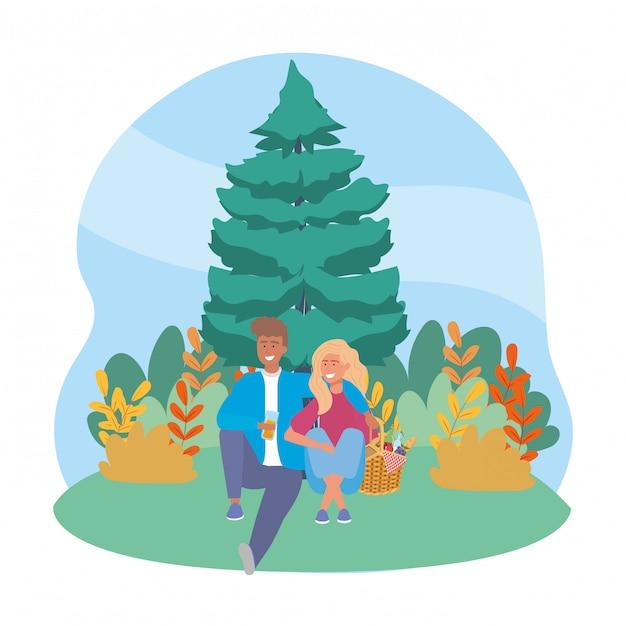 Paar vrouw en man met picknick Premium Vector