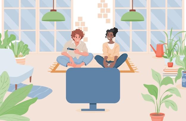 Paar zitten in de woonkamer en het spelen van videogames op een vlakke afbeelding van de gameconsole. Premium Vector