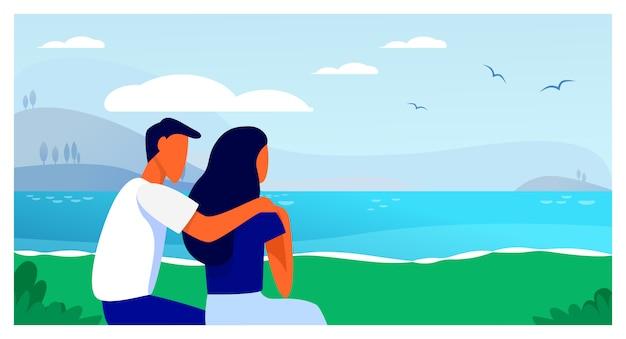 Paar zittend op het strand Gratis Vector