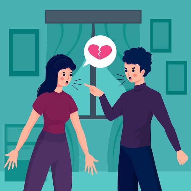 Paarconflicten in relatieconcept Gratis Vector