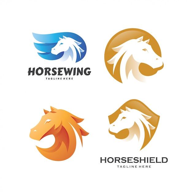 Paard hengst pegasus logo sjabloon set Premium Vector
