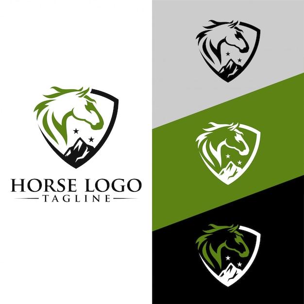 Paard logo template stock afbeelding Premium Vector