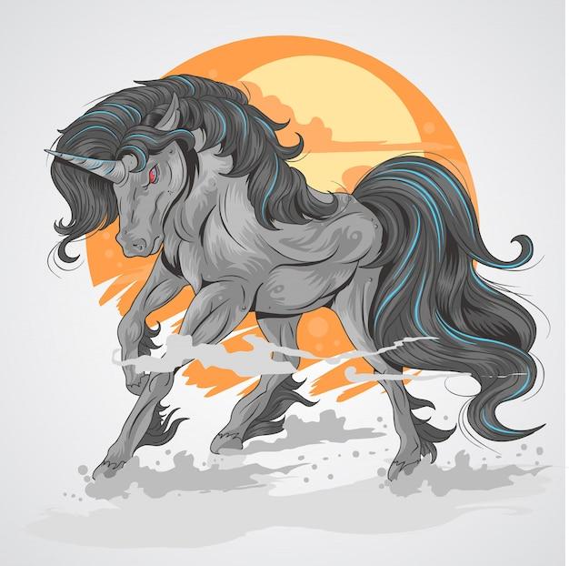 Paard zwarte eenhoorn met zon achtergrond en rook aan voet, rage zwart eenhoort Premium Vector
