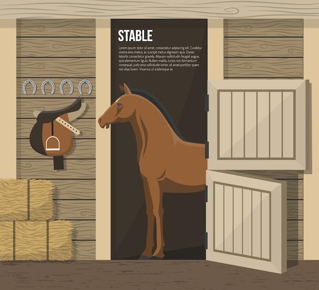 Paardenfokkerij boerderij stalkraamplaatje Gratis Vector