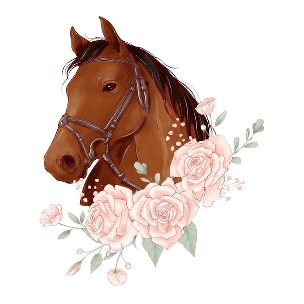 Paardenportret in digitale aquarelstijl en een boeket rozen Premium Vector