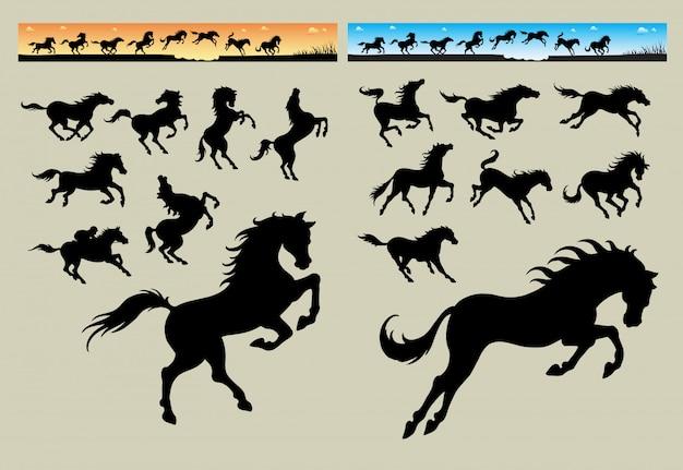 Paardenrennen banner Premium Vector