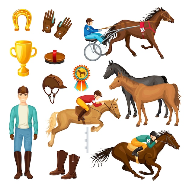 Paardensport cartoon elements-collectie Gratis Vector