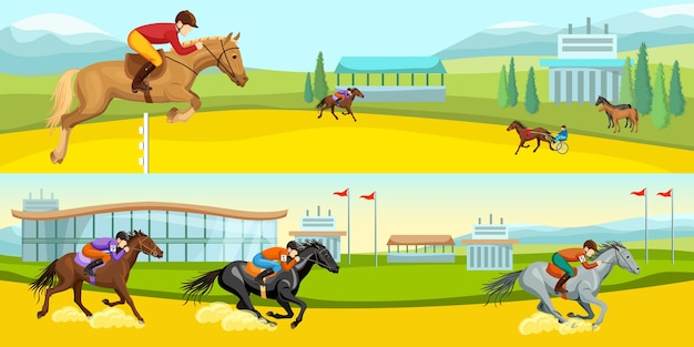 Paardensport cartoon horizontale illustraties Gratis Vector