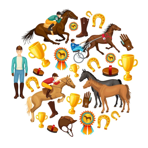 Paardensport cartoon ronde samenstelling Gratis Vector