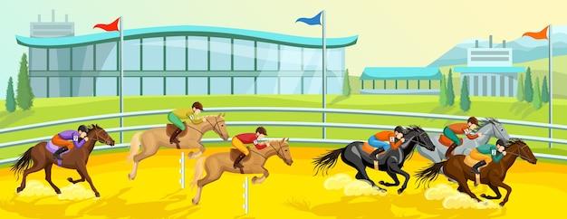 Paardensport cartoon sjabloon voor spandoek met rennen en springen van paarden met ruiters op competitie Gratis Vector