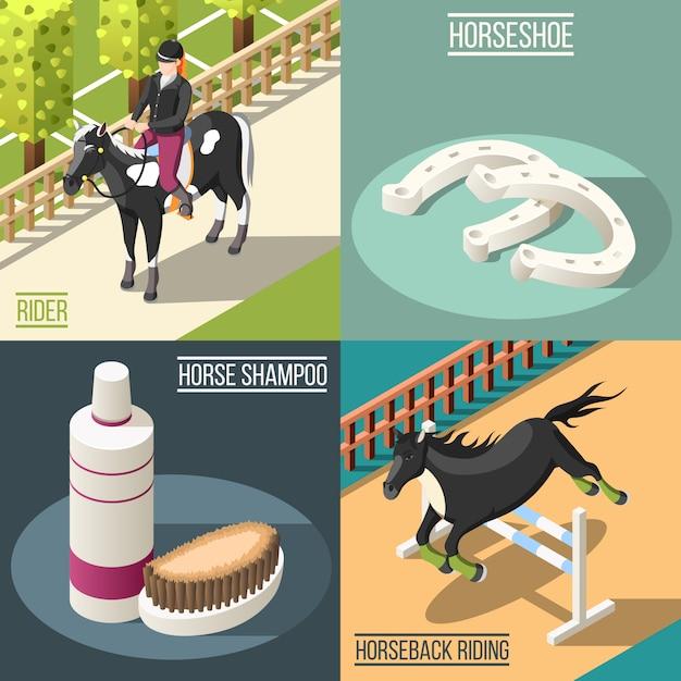 Paardensport concept illustratie Gratis Vector