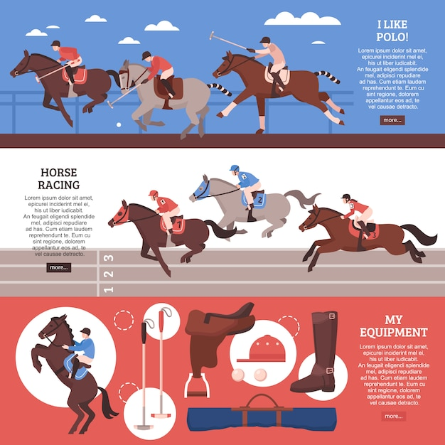 Paardensport horizontale banner set Gratis Vector