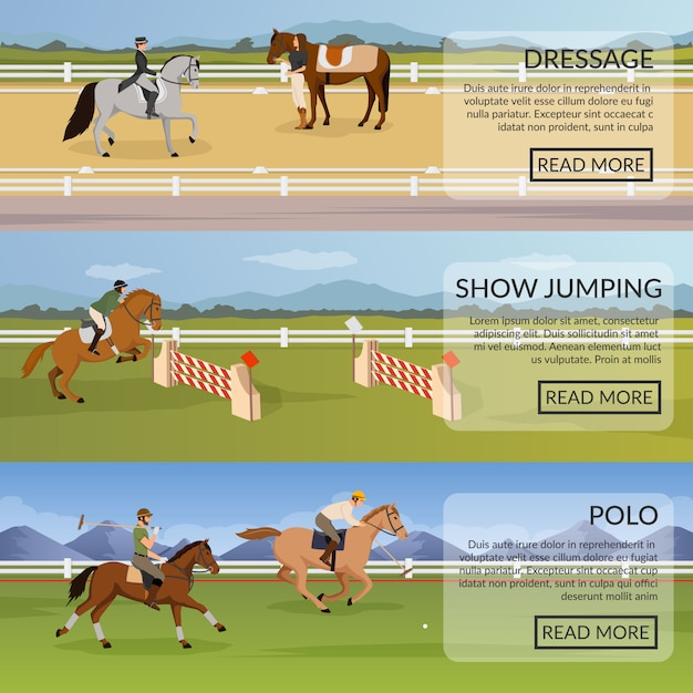 Paardensport horizontale banners Gratis Vector