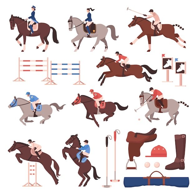 Paardensport icon set Gratis Vector
