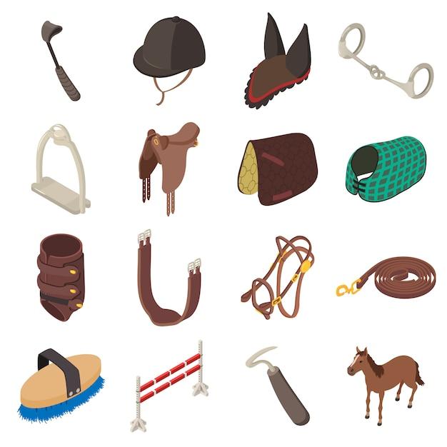 Paardensport uitrusting pictogrammen instellen. isometrische illustratie van 16 vectorapparatuur van het paardsportmateriaal voor web Premium Vector
