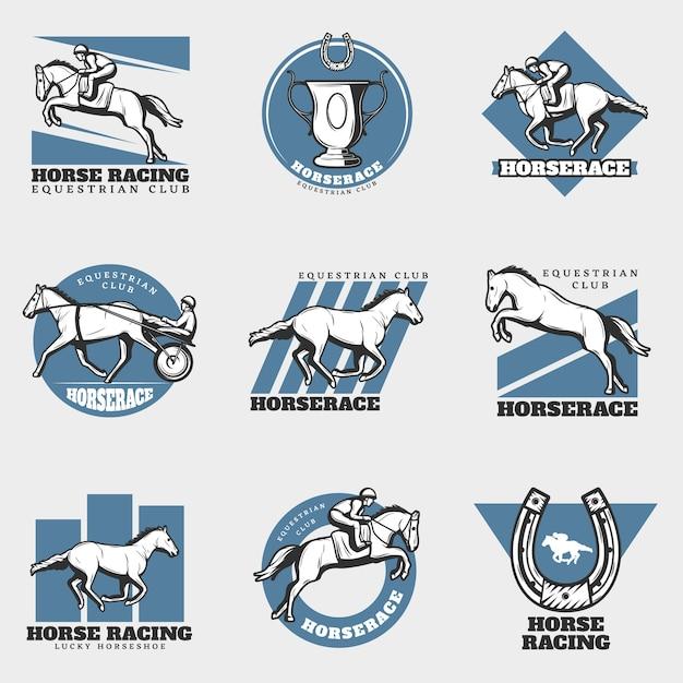 Paardensport vintage logo's set Gratis Vector