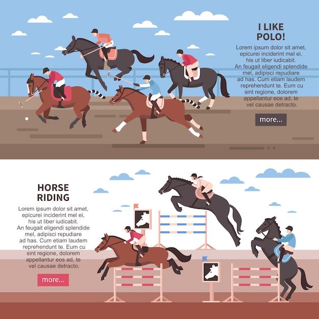 Paardrijden en polo banner set Gratis Vector