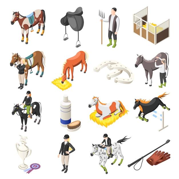 Paardrijden isometrische icons set Gratis Vector