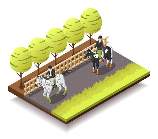 Paardrijden isometrische samenstelling Gratis Vector