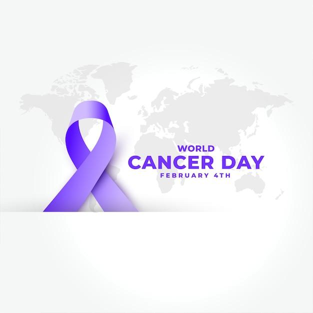Paars realistisch lint voor wereld kanker dag banner Gratis Vector