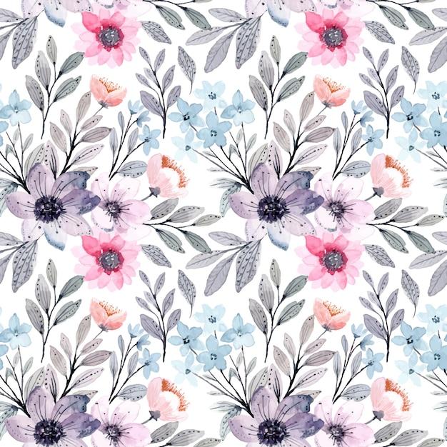 Paars roze bloemenwaterverf naadloos patroon Premium Vector