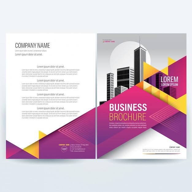 Paars zakelijke brochure sjabloon met gele driehoek elementen. Premium Vector