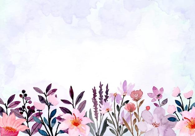 Paarse abstracte wilde bloemen aquarel achtergrond Premium Vector