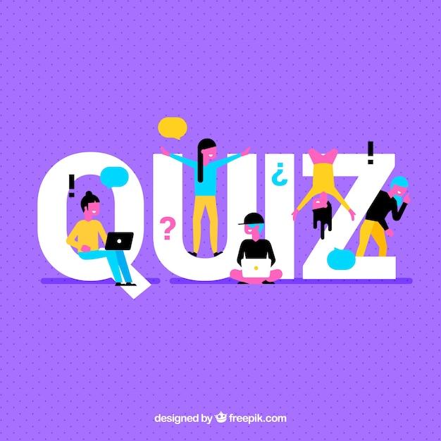 Paarse achtergrond met quiz woord en kleurrijke mensen Gratis Vector
