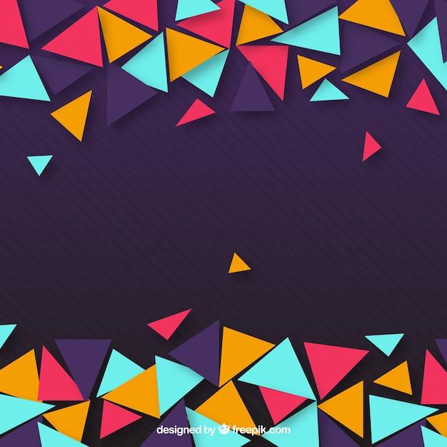 Paarse achtergrond van kleurrijke driehoeken Gratis Vector